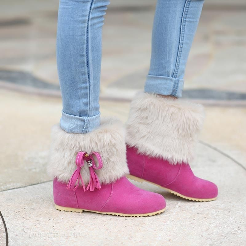 Shoespie Faux-fur Matched Hidden Wedge Ankle Boots