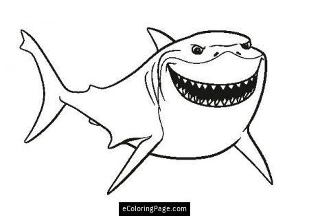 Finding Dory Bruce Coloring Page Printable Nemo Coloring Pages