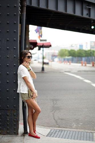 white lace, olive shorts, red flats