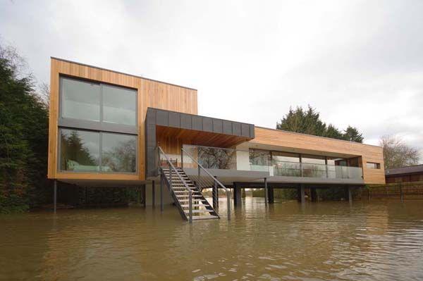 The Flood House In Berkshire Flooded House Modern Lake House House On Stilts