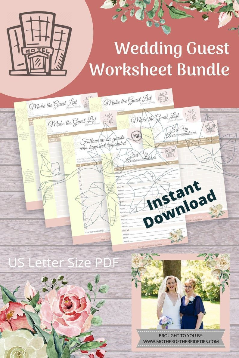 Wedding Guest Worksheet Bundle Guest Lists Accommodation Pages To Print For Yo Wedding Planner Binder Wedding Planner Printables Wedding Planning Worksheet