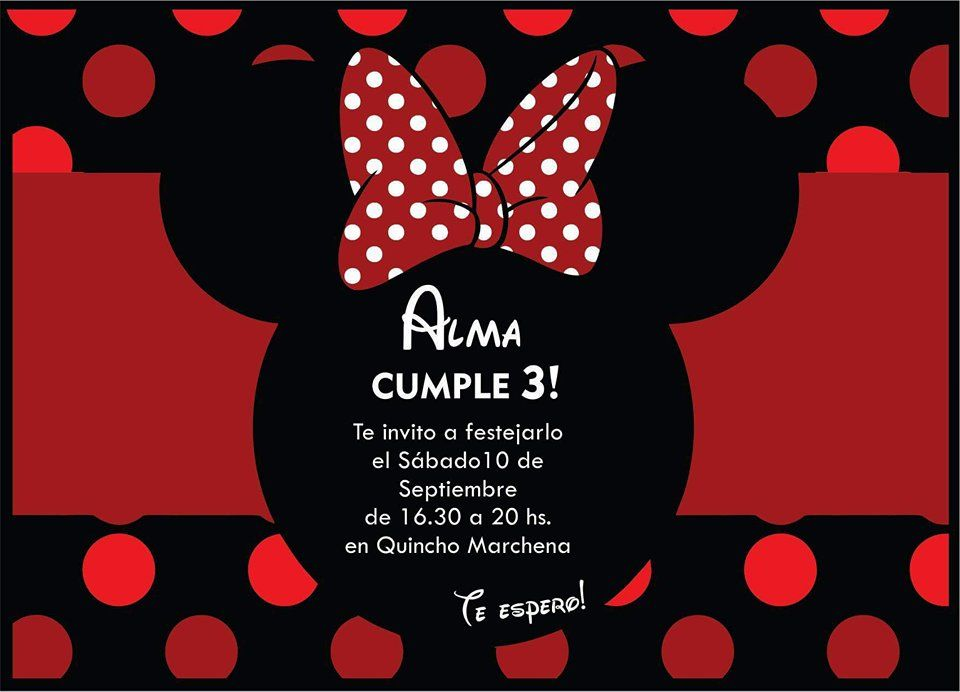 Invitación Tarjeta Minnie Roja Birthday Cumple