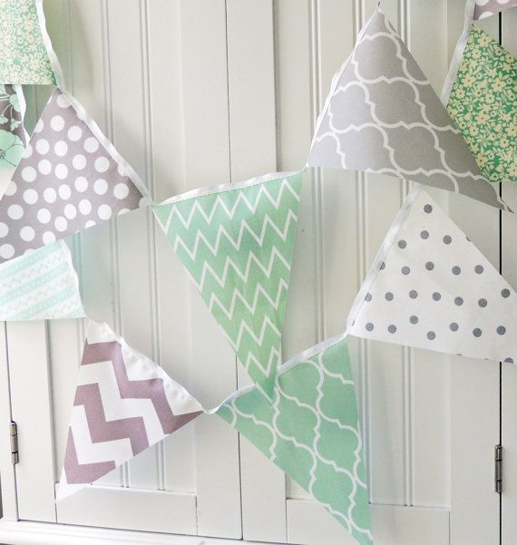 fabric banner bunting garland fabric pennant flags mint grey gray wedding decor photo prop. Black Bedroom Furniture Sets. Home Design Ideas