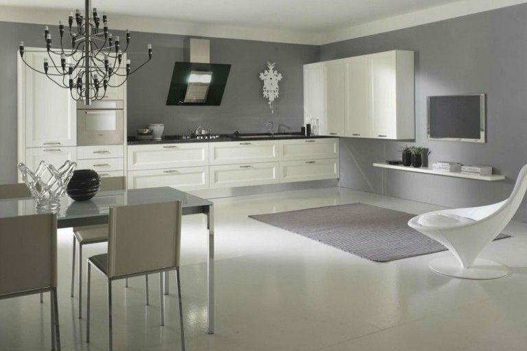"""Cucina angolare moderna """"stondata"""" con basi laccato lucido grigio ..."""
