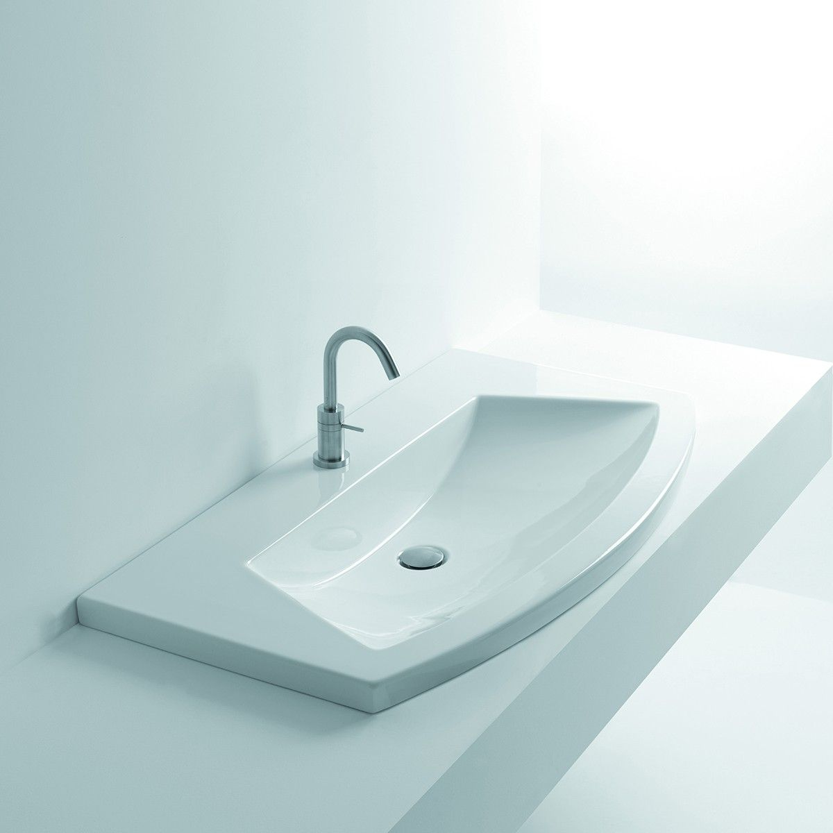 Ws Bath Collections Glam 100 Wall Mounted Drop In Bathroom Sink