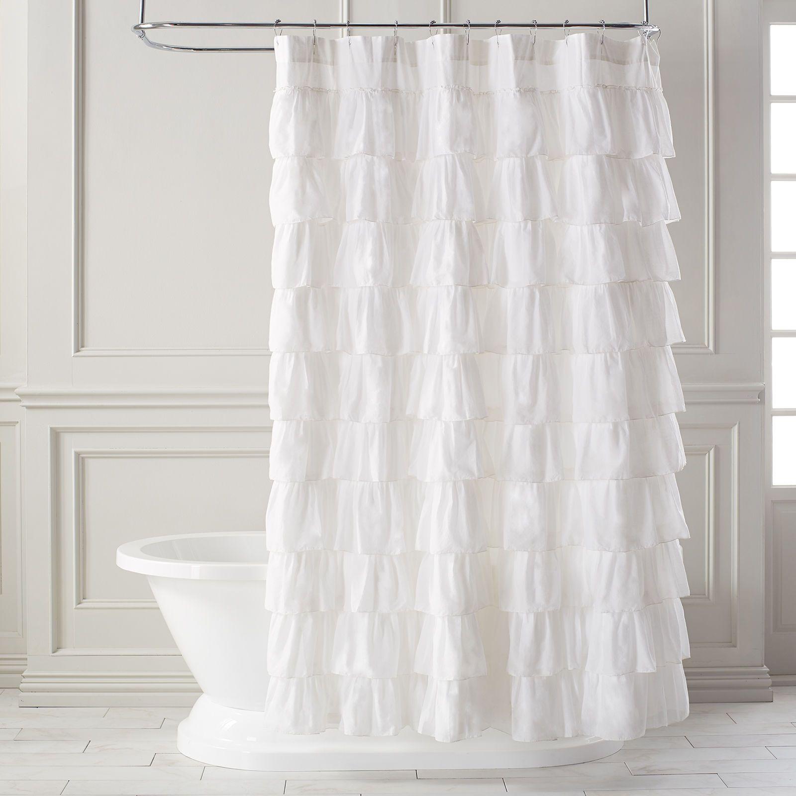 Ruffled white shower curtain parlour bath ideas and apartments