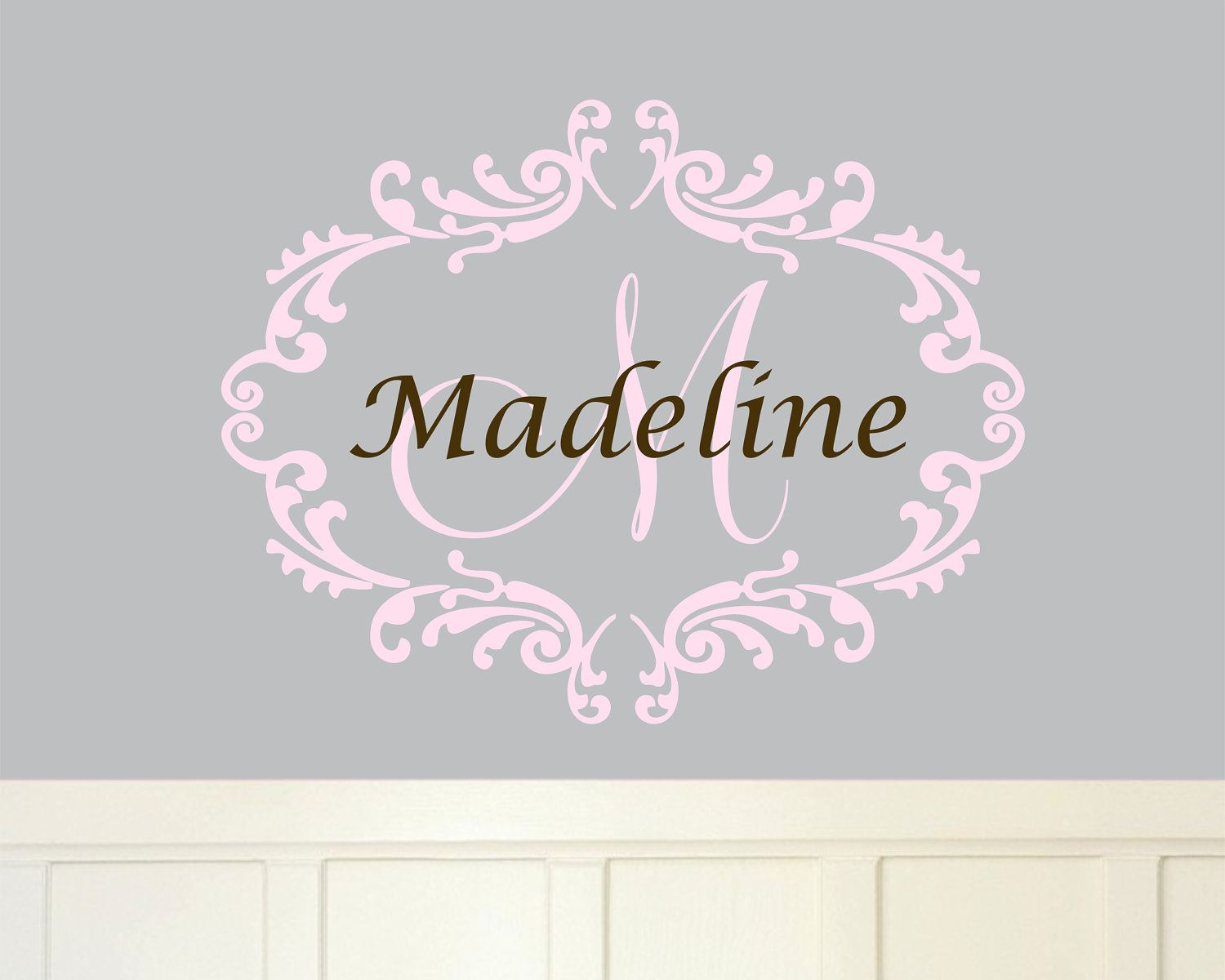 Baby Girl Monogram Wall Decal Name Nursery Damask Vinyl Sticker - Personalized wall decals for nursery