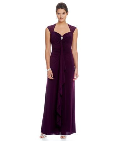 R & M Richards Ruched Sweetheart Gown #Dillards