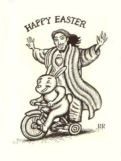 Bunny On A Bicycle Happy Easter Jesus Riding On Bike With Easter