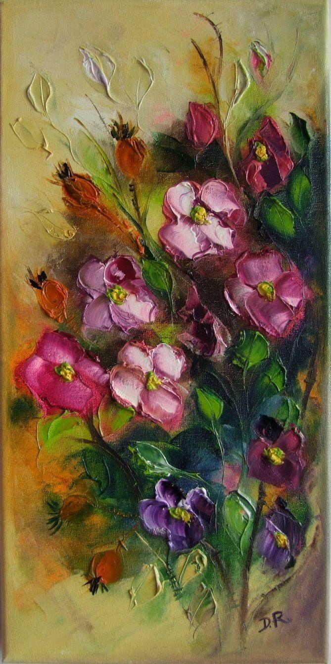 Impasto flower painting with pretty pink flowers painting impasto flower painting with pretty pink flowers mightylinksfo