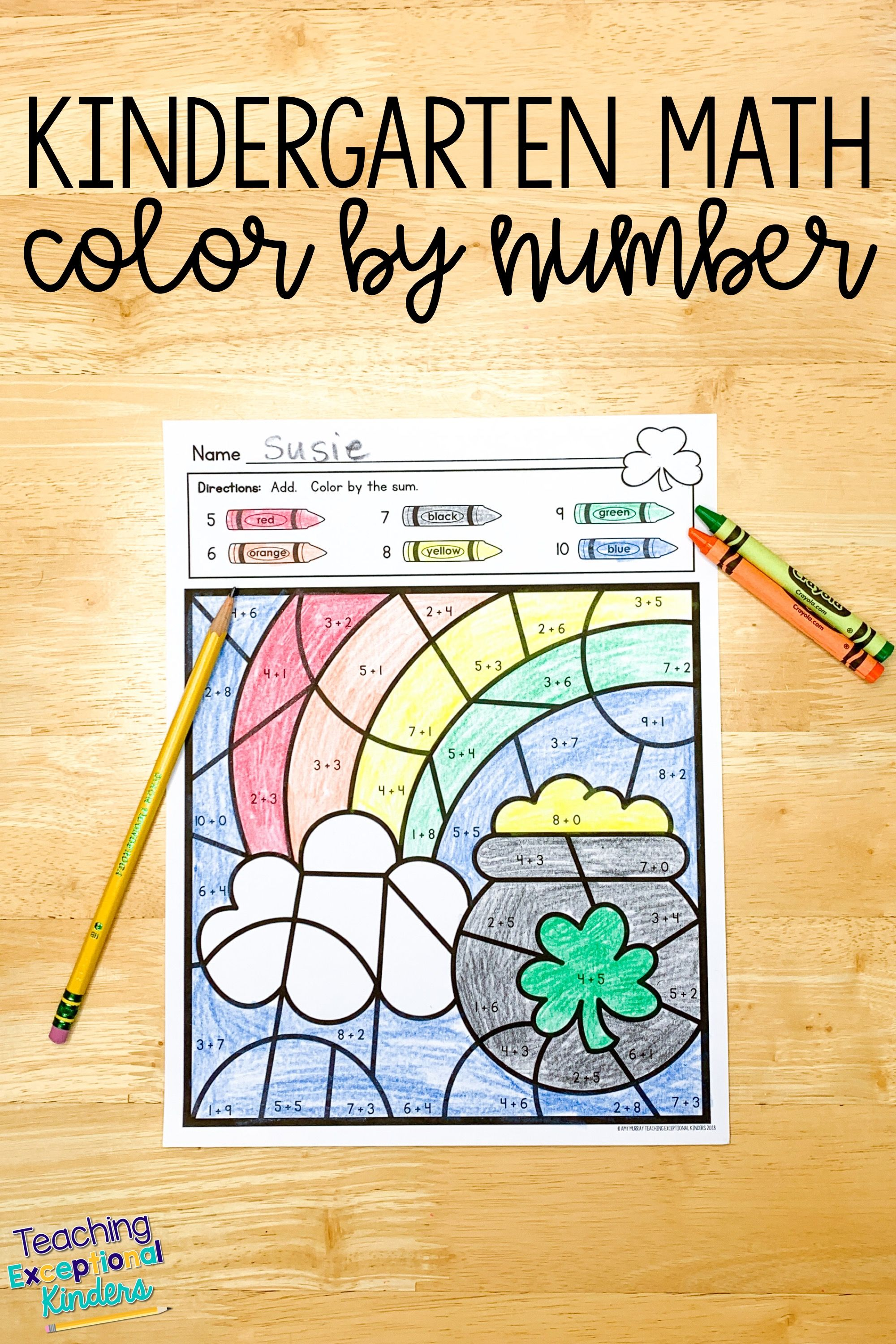 St Patrick S Day Color By Number Kindergarten Math