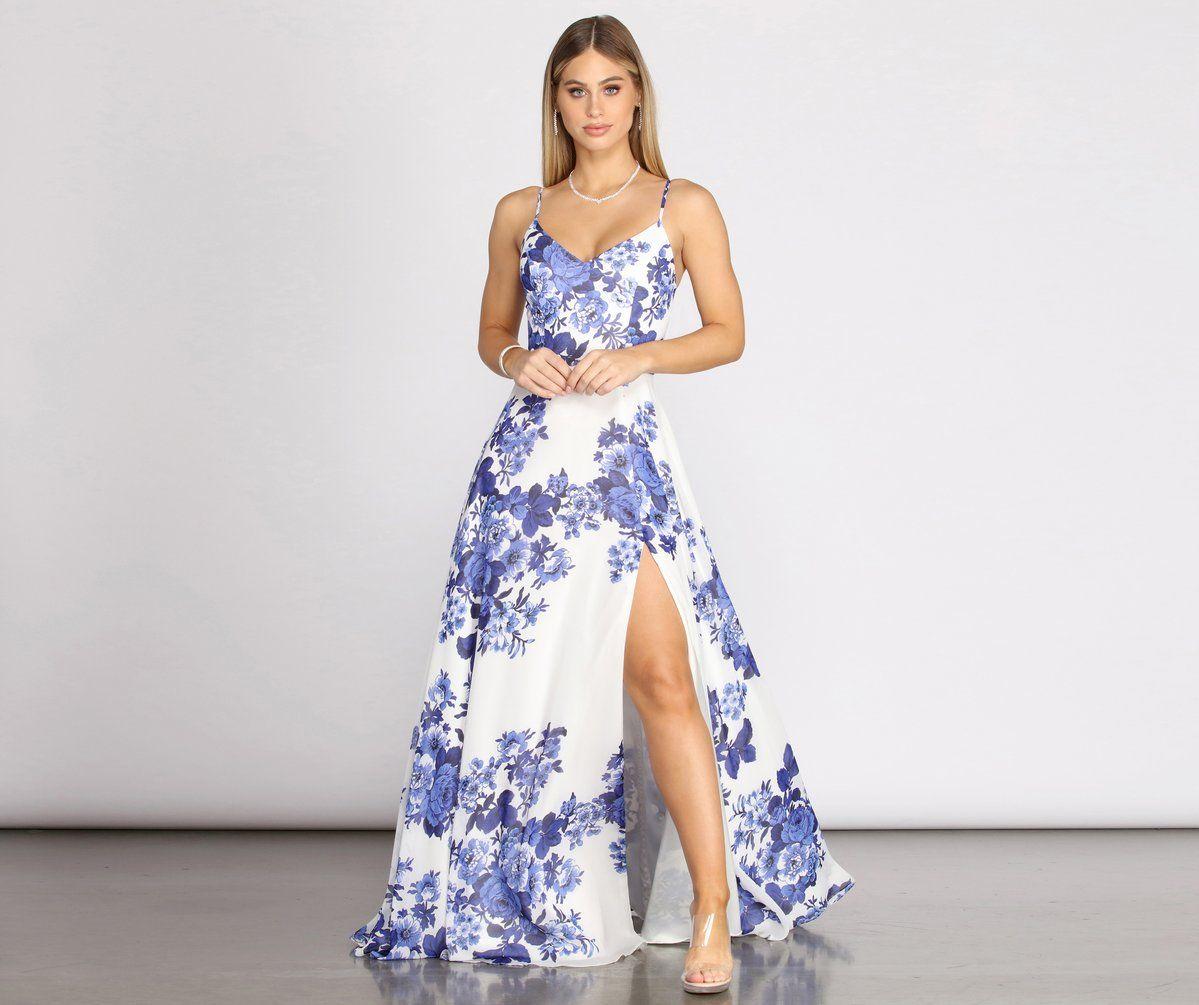 Kiana Floral Chiffon A Line Dress Dresses Floral Dress Summer Summer Wedding Attire [ 1005 x 1199 Pixel ]