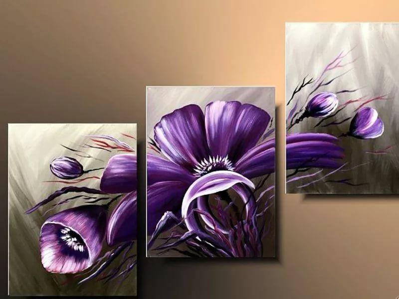 FFFZDCKAY Cuadro en Lienzo 3 Partes Extracto de Flor Morada Imprimir en Lienzo Foto P/óster decoraci/ón del hogar con Marco