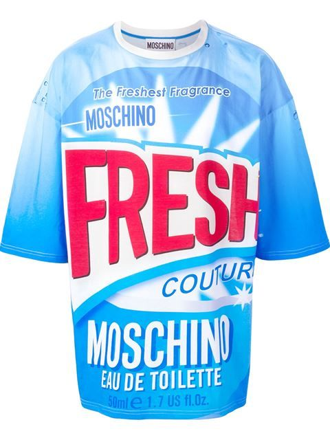 29c34cce6935 Shop Moschino Fresh print T-shirt in Feathers from the world's best  independent boutiques at farfetch.com. Shop 400 boutiques at one address.