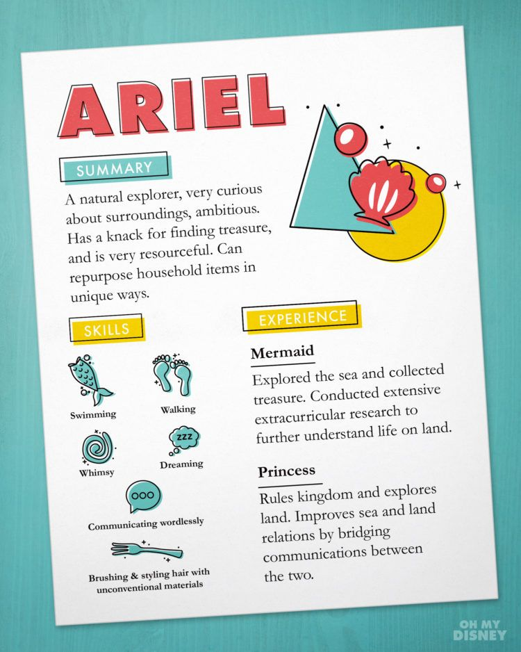 Ariel Imaginary Resume Fun Stuff Pinterest Ariel Disney Facts