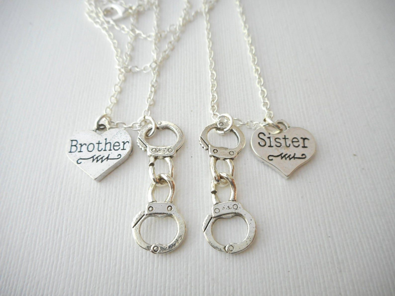 2 brother sister handcuff best friend necklaces brother