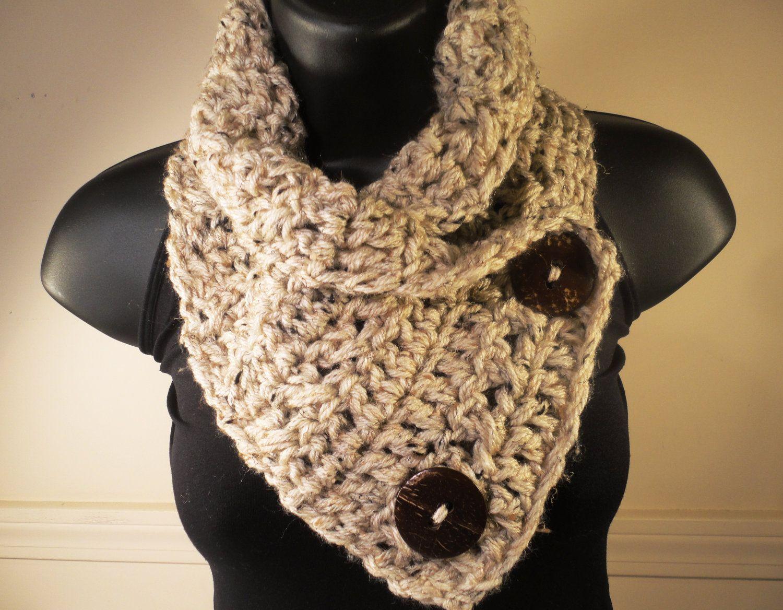 Wool blend bulky crochet scarf button scarf crochet cowl crochet scarf cowl neck warmer with buttons by villayarndesigns 2600 bankloansurffo Choice Image