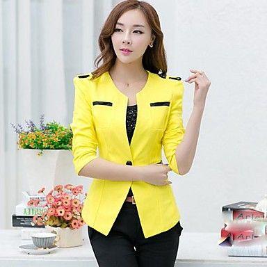1b3675cee9 médio ½ manga comprimento ocasional blazer regulares das mulheres  (poliéster) - BRL R  115