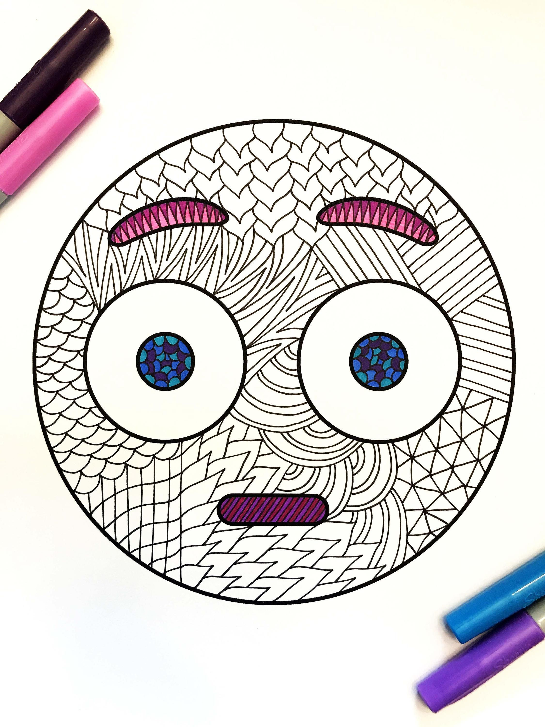 Surprised Emoji Pdf Zentangle Coloring Page Coloring Pages
