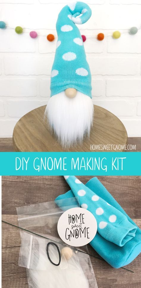 Teal and white polka dot DIY gnome making kit. Learn to make gnomes! #christmasgnomes