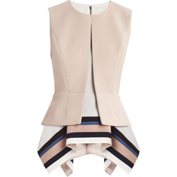 BCBGMAXAZRIA Runway Tania Top (€125) ❤ liked on Polyvore featuring tops, blouses, shirts, lined shirt, striped blouse, crew-neck shirts, sleeveless shirts and crew neck shirts