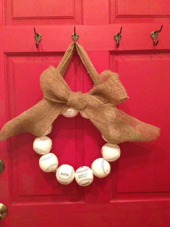 DIY baseball wreath.