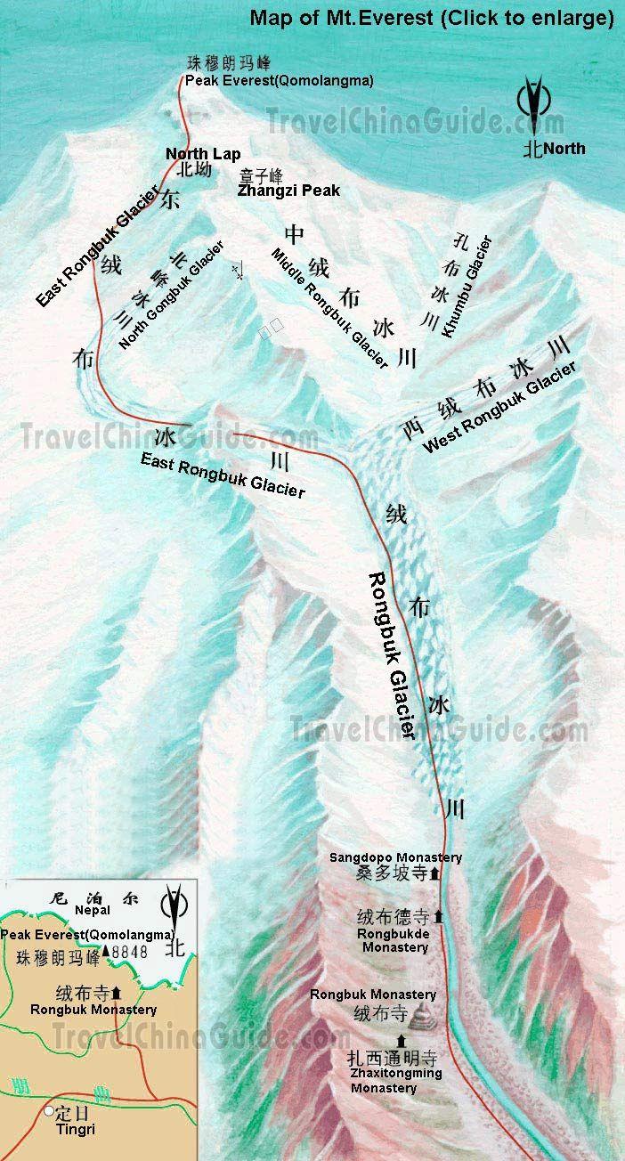 Mount-Everest Map | Tibet | Pinterest | Mount everest and Tibet