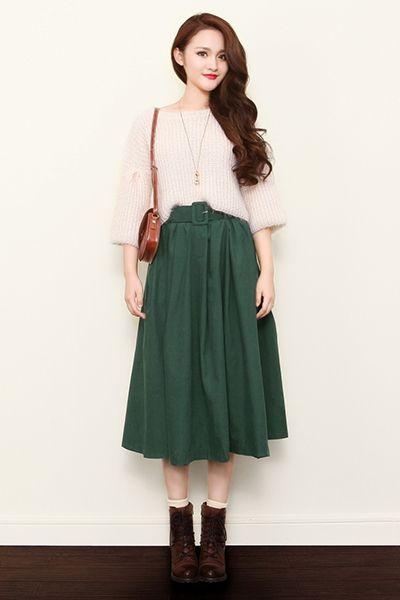 Retro High Waist Midi Skirt The Art Of Vintage Inspired Cute Women S Clothing Larmoni Modest Outfits Fashion Fashion Clothes Women