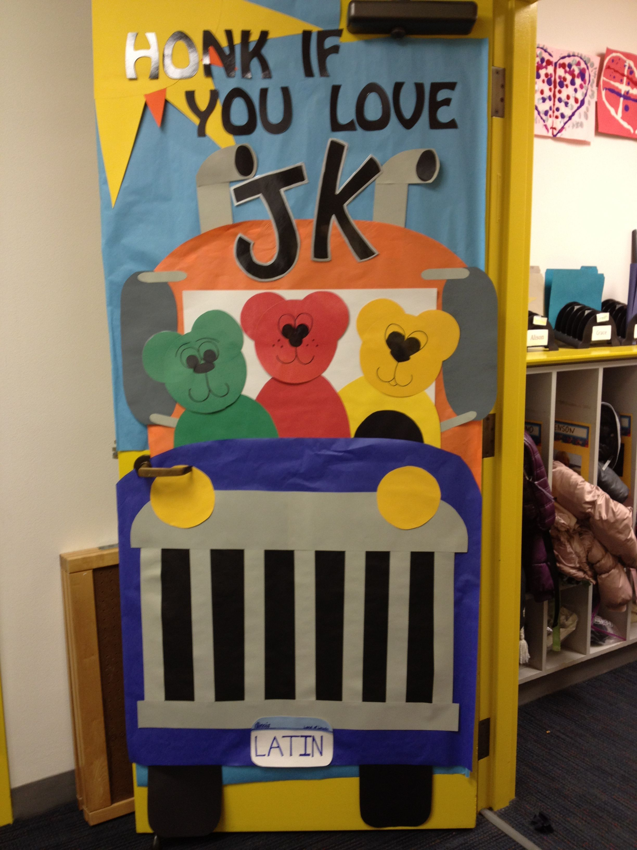 Transportation-themed door decoration. | School ...