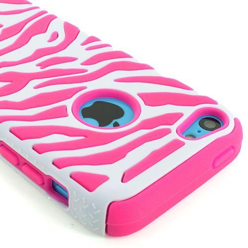 size 40 f14f5 f0ed1 For Apple iPhone 5C Zebra Hybrid Impact Combo Hard Soft Skin Case ...