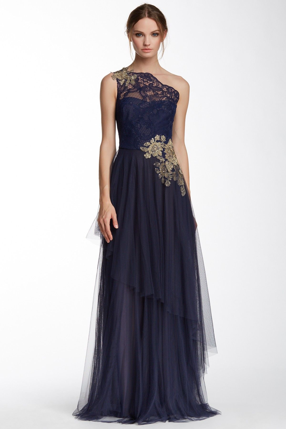 Marchesa Notte | One Shoulder Embroidered Detail Gown | Marchesa ...