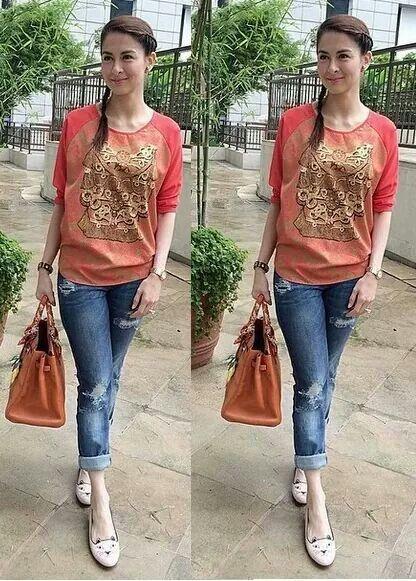 Beautiful marian rivera #jeans #laidback | outfit ...