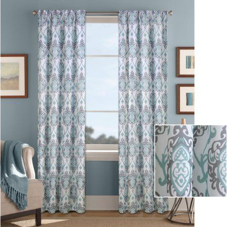 Better Homes And Gardens Damask Scroll Curtain Panel, Blue