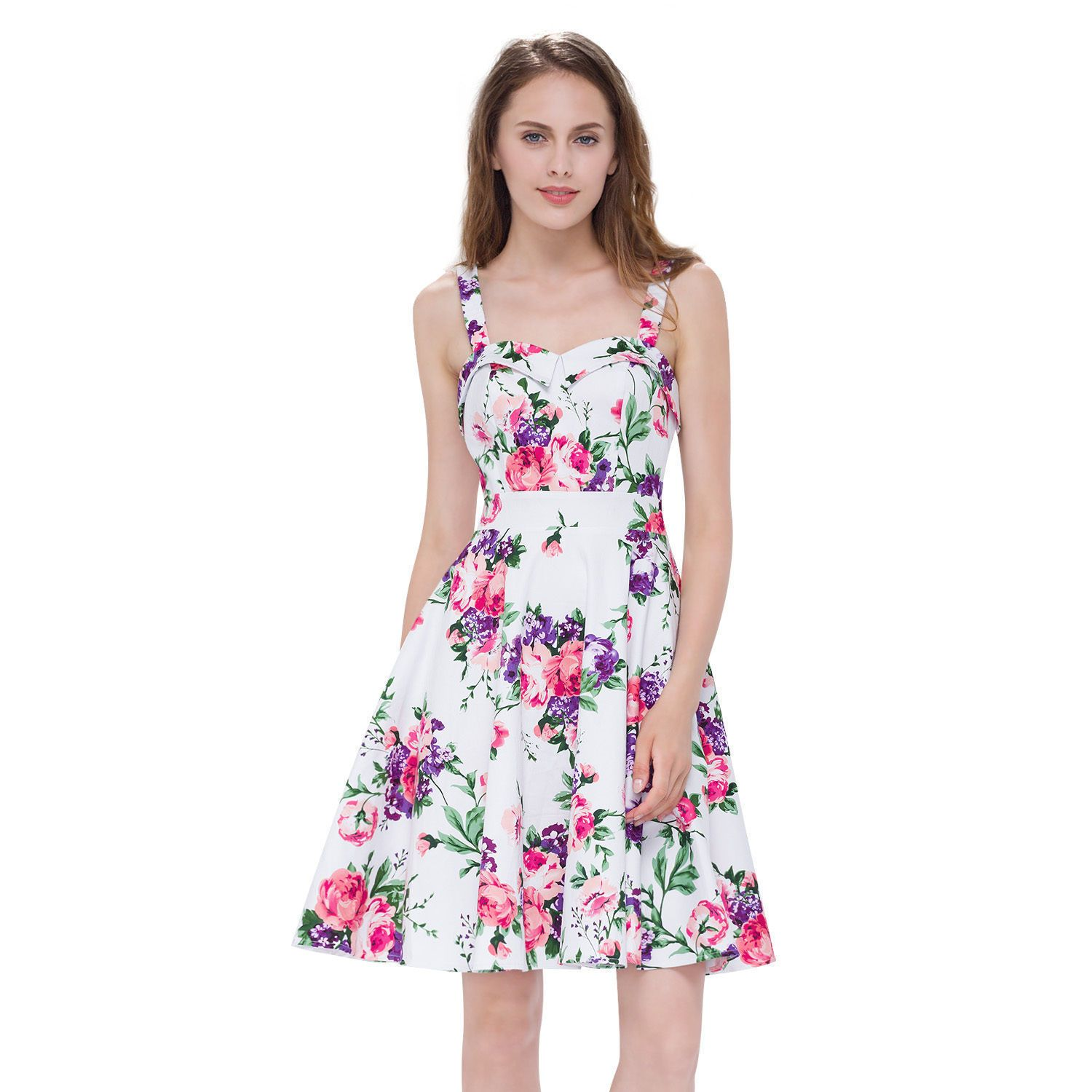 Ever pretty womenus short floral printed summer casual prom dress