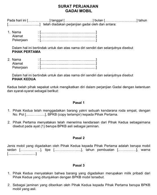 Contoh Surat Format Perjanjian Gadai Mobil Terbaru File Word Surat Huruf Tanda