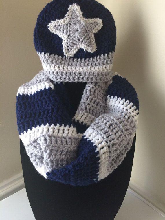 25b415db76f8e Dallas Cowboys Inspired Football Infinity Scarf by KARDsandGifts Cowboy  Crochet