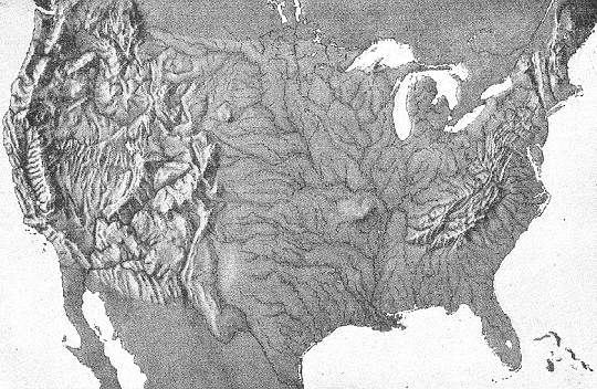 Relief Map Of United States.Contiguous United States Relief Map Usa Geography Social Studies