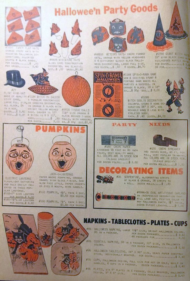 1957 Sally\u0027s Wholesale Catalog ad featuring various Hallowe\u0027en Party - halloween catalog