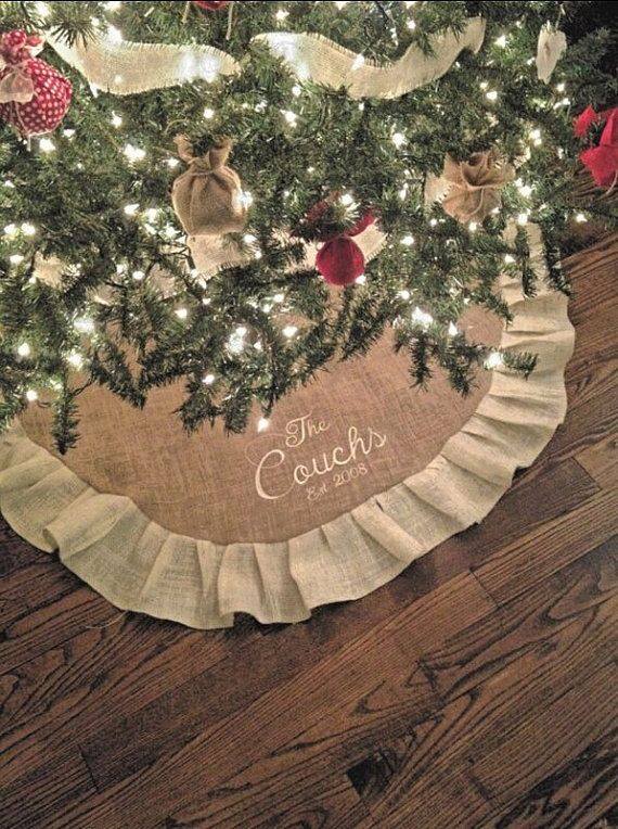 monogrammed christmas burlap tree skirt 50 with ruffle personalized great christmas gift