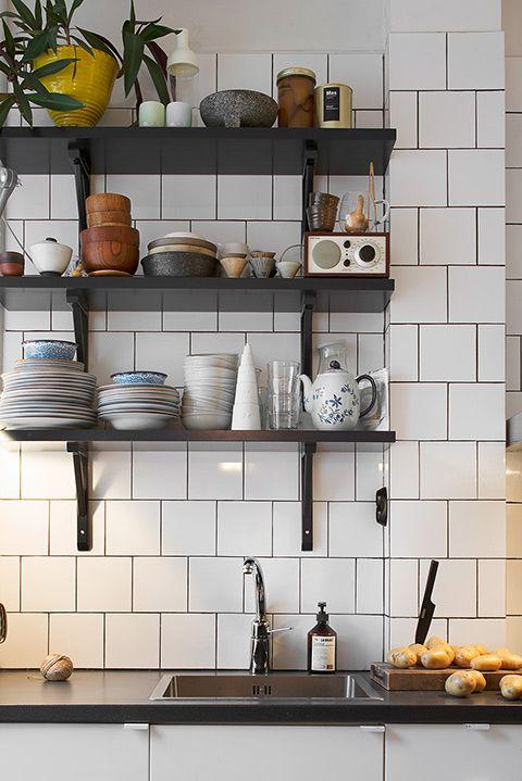 Étagères Kaboul kitchen Pinterest Cocinas, Azulejos blancos y
