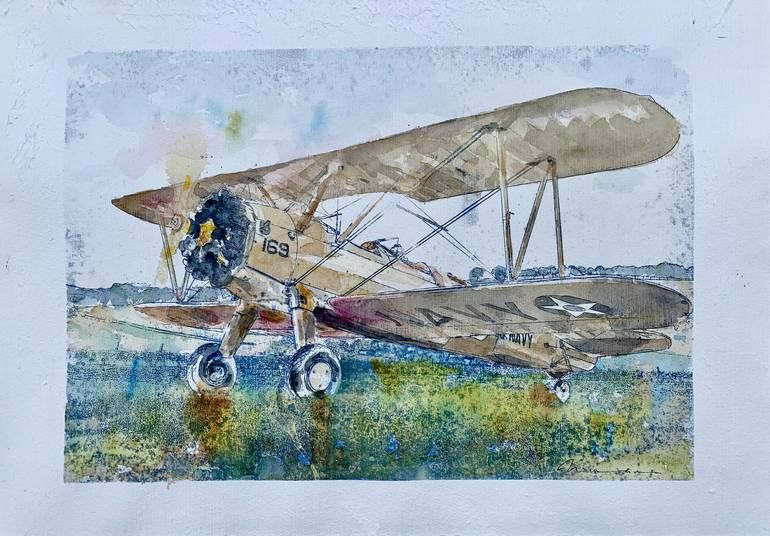 Composition 229m Boeing Stearman Painting Painting Art