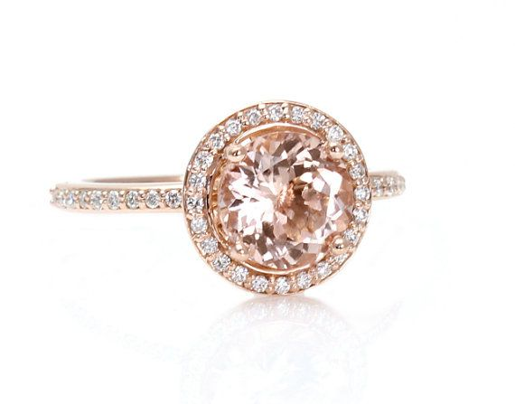 Morganite Engagement Ring Diamond Halo Morganite Ring by RareEarth, $1075.00