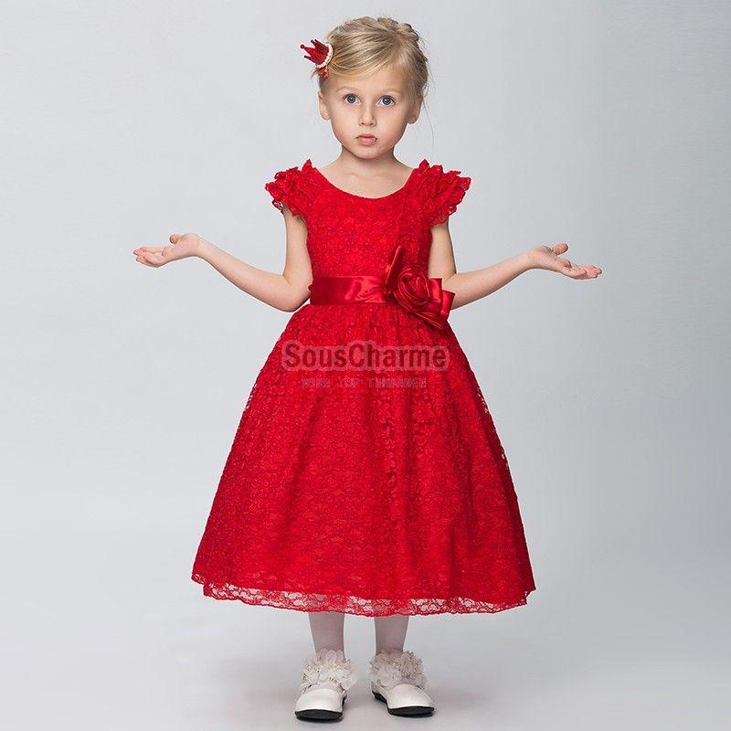 Robe fille de communion princesse pas cher en dentelle for Fille fleur robes mariage