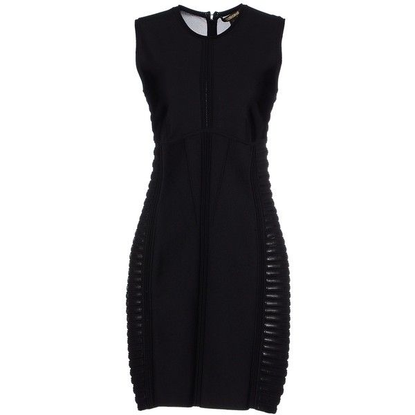 Roberto Cavalli Short Dress (9 925 ZAR) ❤ liked on Polyvore featuring dresses, black, sleeveless jersey, stretch dress, mini tube dress, leather mini dress and sleeveless dress