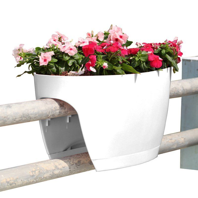 Greenbo Railing Deck And Balcony Planter Set Of 6 White Deck