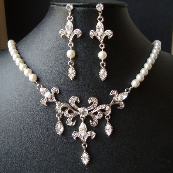 Bridal Jewelry SET Wedding Necklace Earrings Set Fleur De Lis