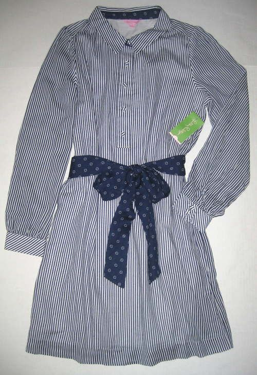 LILLY PULITZER 14 Navy Blue White DAVIE Railroad Stripe Shirtdress Dress NWT New #LillyPulitzer #ShirtDress #WeartoWork