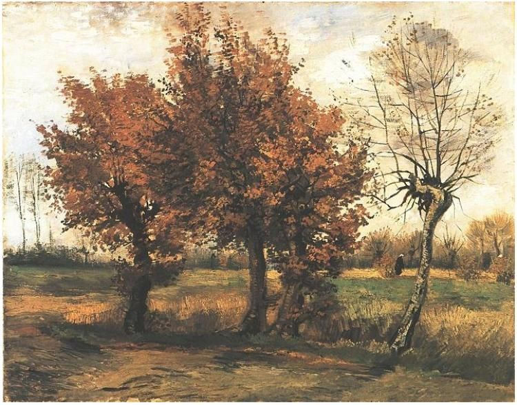 Painting Oil On Canvas Nuenen The Netherlands Autumn Landscape With Four Trees November 1885 K Van Gogh Art Vincent Van Gogh Paintings Autumn Landscape