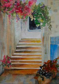 Up The Stairs Watercolor