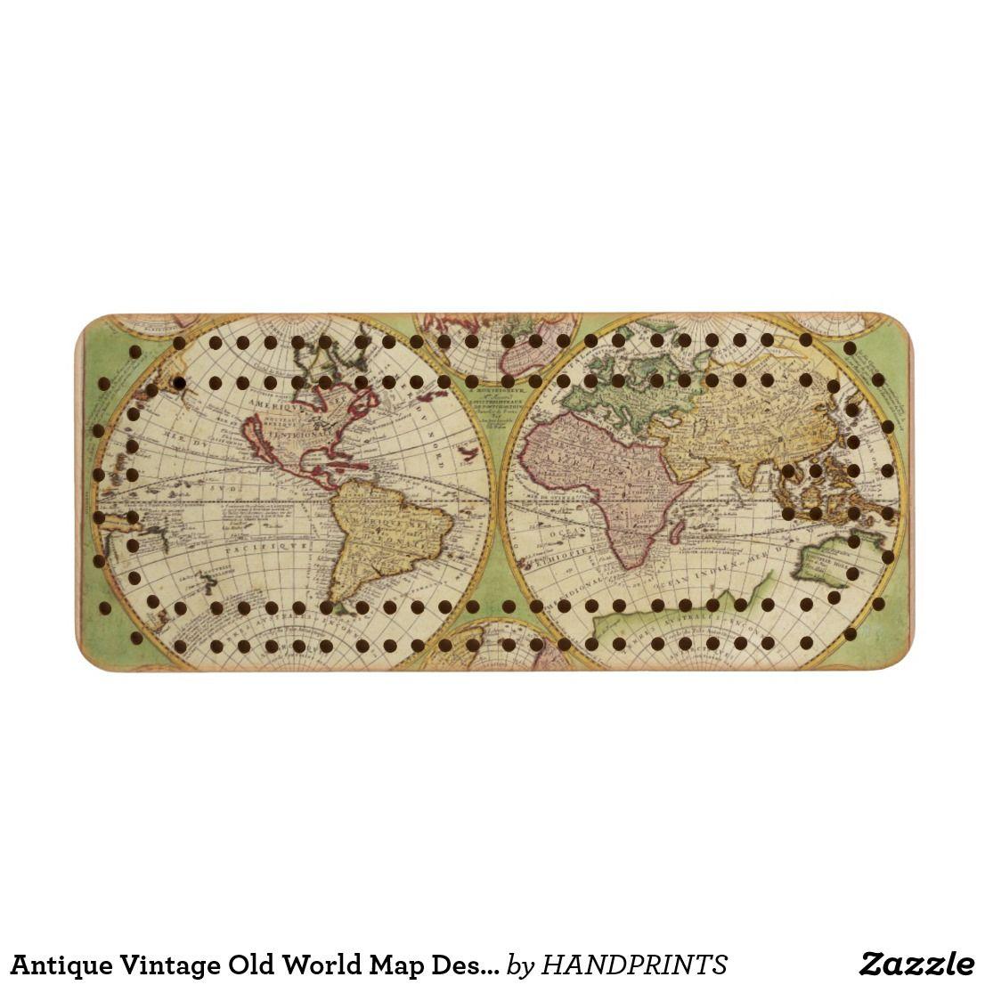 Antique vintage old world map design wood cribbage board custom antique vintage old world map design wood cribbage board custom gifts gumiabroncs Choice Image